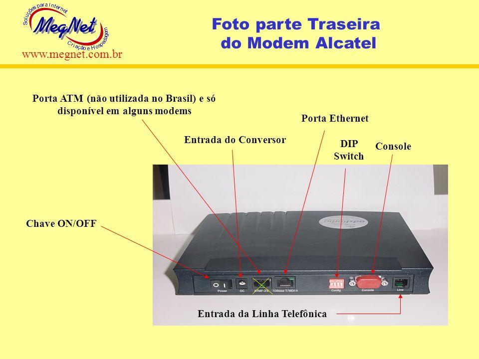 Chave ON/OFF Entrada do Conversor Porta ATM (não utilizada no Brasil) e só disponível em alguns modems Porta Ethernet Console DIP Switch Entrada da Li