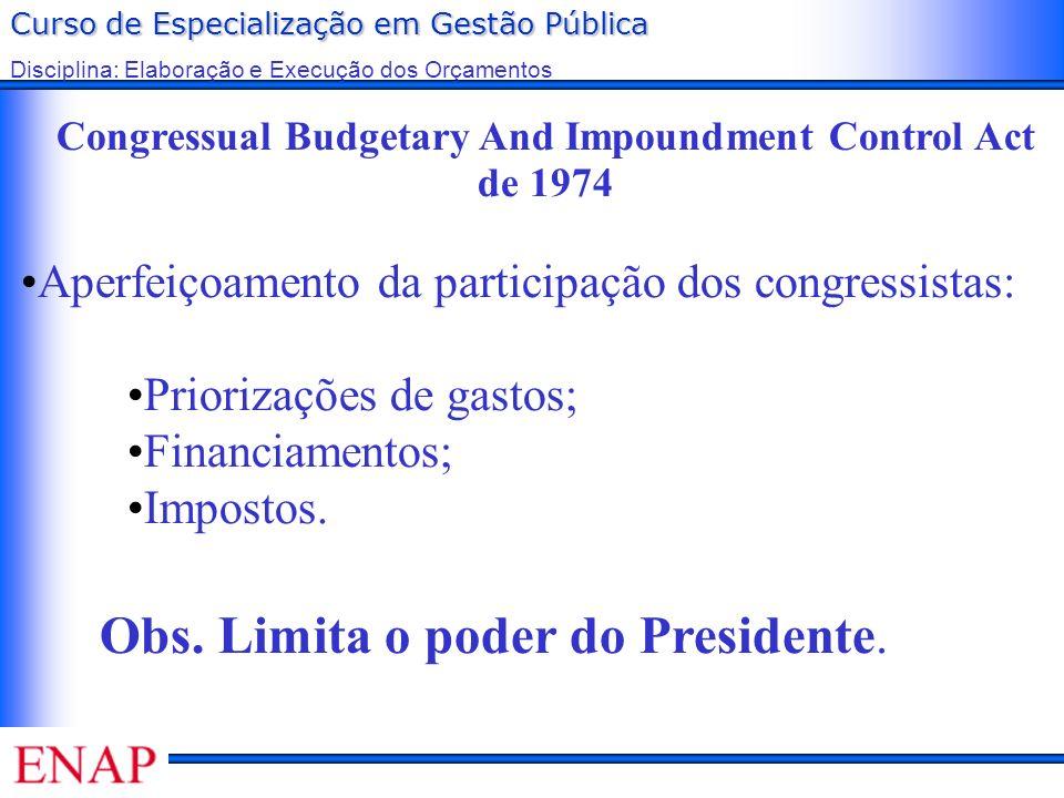 Curso de Especialização em Gestão Pública Disciplina: Elaboração e Execução dos Orçamentos Congressual Budgetary And Impoundment Control Act de 1974 A
