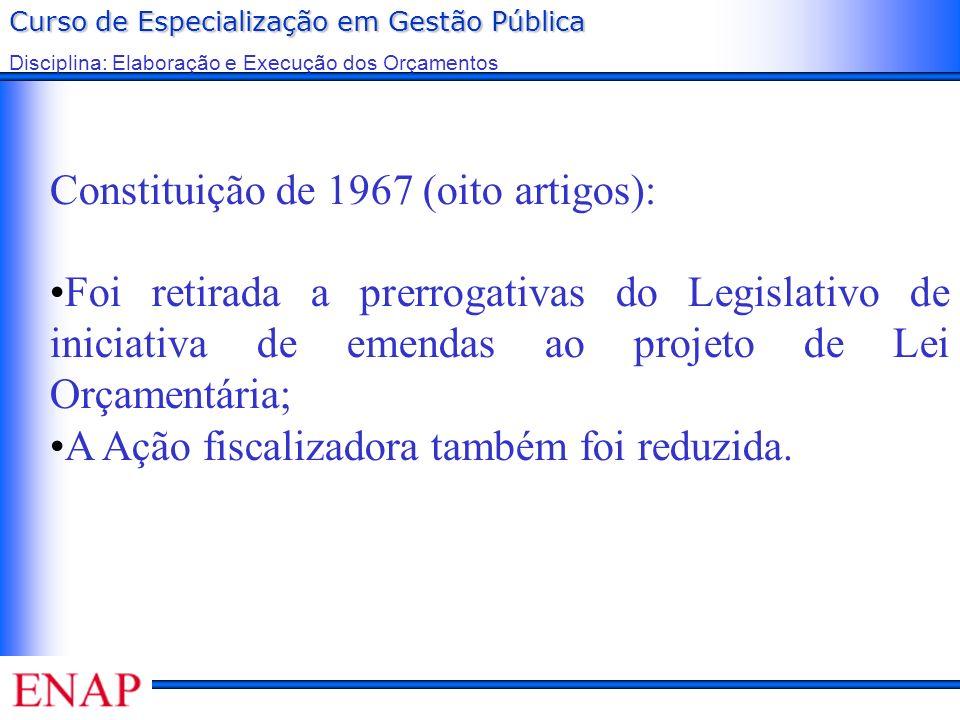 Curso de Especialização em Gestão Pública Disciplina: Elaboração e Execução dos Orçamentos Constituição de 1967 (oito artigos): Foi retirada a prerrog