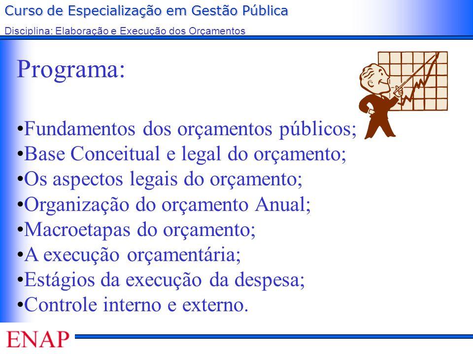 Curso de Especialização em Gestão Pública Disciplina: Elaboração e Execução dos Orçamentos Programa: Fundamentos dos orçamentos públicos; Base Conceit