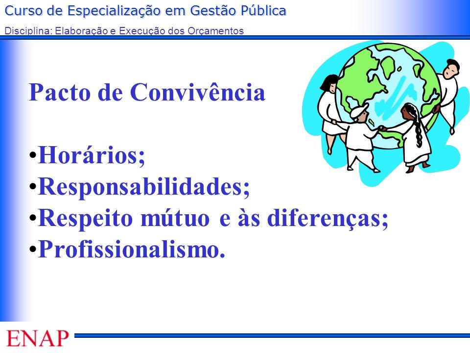 Curso de Especialização em Gestão Pública Disciplina: Elaboração e Execução dos Orçamentos Pacto de Convivência Horários; Responsabilidades; Respeito
