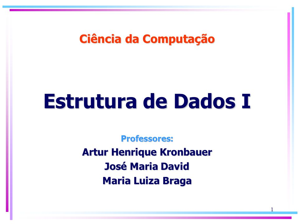 Ciência da Computação Estrutura de Dados I Professores: Artur Henrique Kronbauer José Maria David Maria Luiza Braga 1