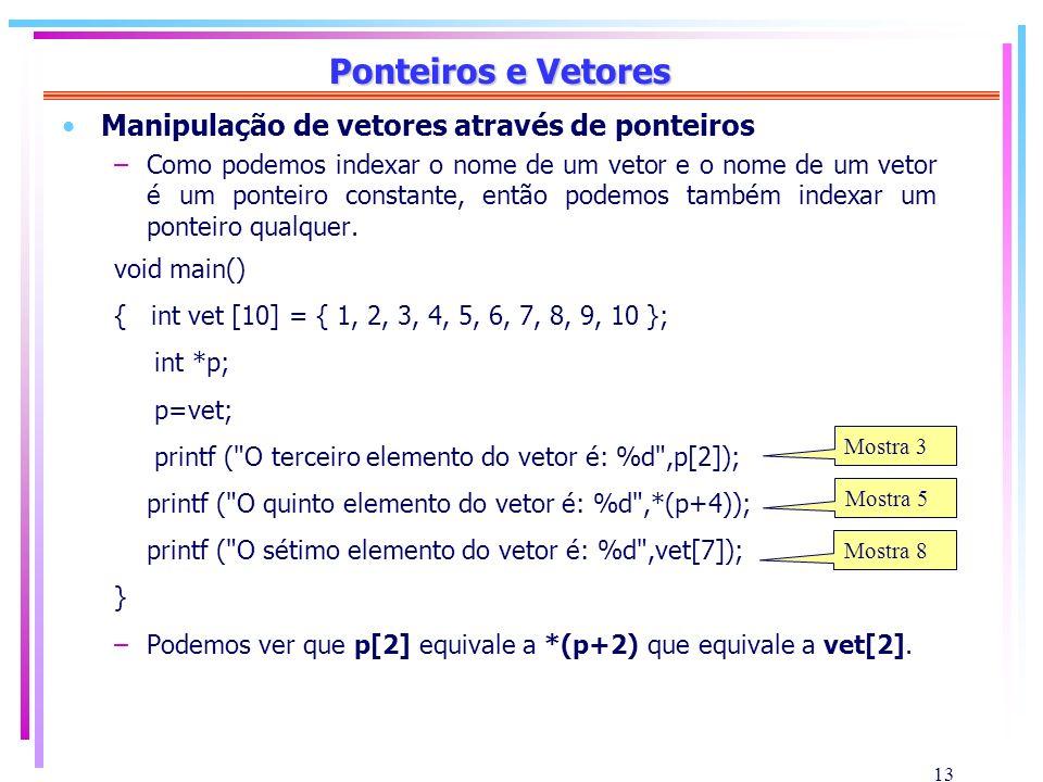 13 Ponteiros e Vetores Manipulação de vetores através de ponteiros –Como podemos indexar o nome de um vetor e o nome de um vetor é um ponteiro constan