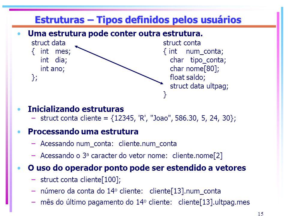 15 Estruturas – Tipos definidos pelos usuários Uma estrutura pode conter outra estrutura. struct data struct conta {int mes; { int num_conta; int dia;