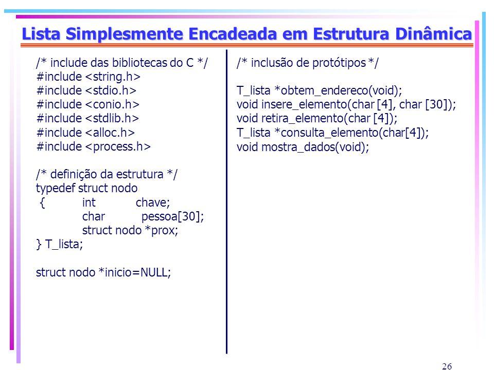 26 Lista Simplesmente Encadeada em Estrutura Dinâmica /* include das bibliotecas do C */ #include /* definição da estrutura */ typedef struct nodo {in