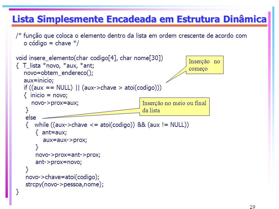 29 Lista Simplesmente Encadeada em Estrutura Dinâmica /* função que coloca o elemento dentro da lista em ordem crescente de acordo com o código = chav