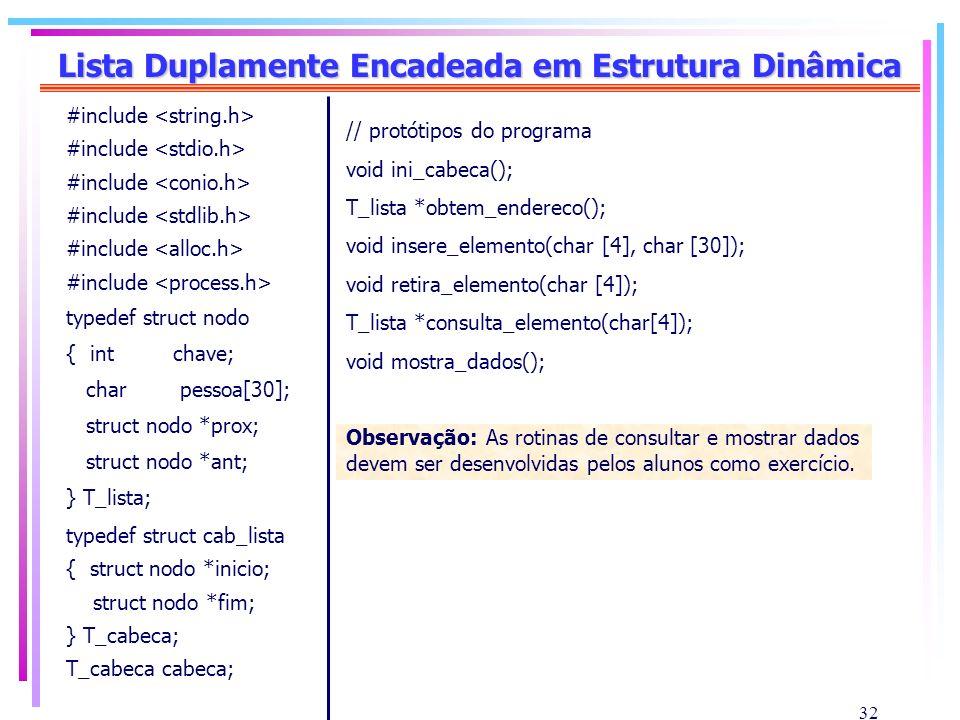 32 Lista Duplamente Encadeada em Estrutura Dinâmica #include typedef struct nodo { int chave; char pessoa[30]; struct nodo *prox; struct nodo *ant; }