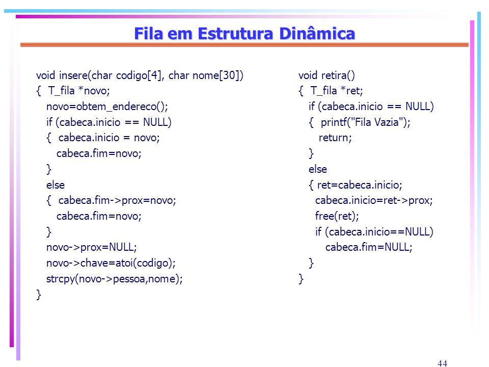 44 Fila em Estrutura Dinâmica void insere(char codigo[4], char nome[30]) { T_fila *novo; novo=obtem_endereco(); if (cabeca.inicio == NULL) { cabeca.in