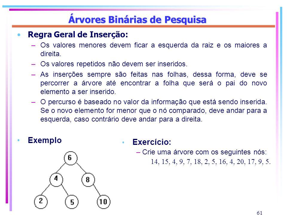 61 Árvores Binárias de Pesquisa Regra Geral de Inserção: –Os valores menores devem ficar a esquerda da raiz e os maiores a direita. –Os valores repeti