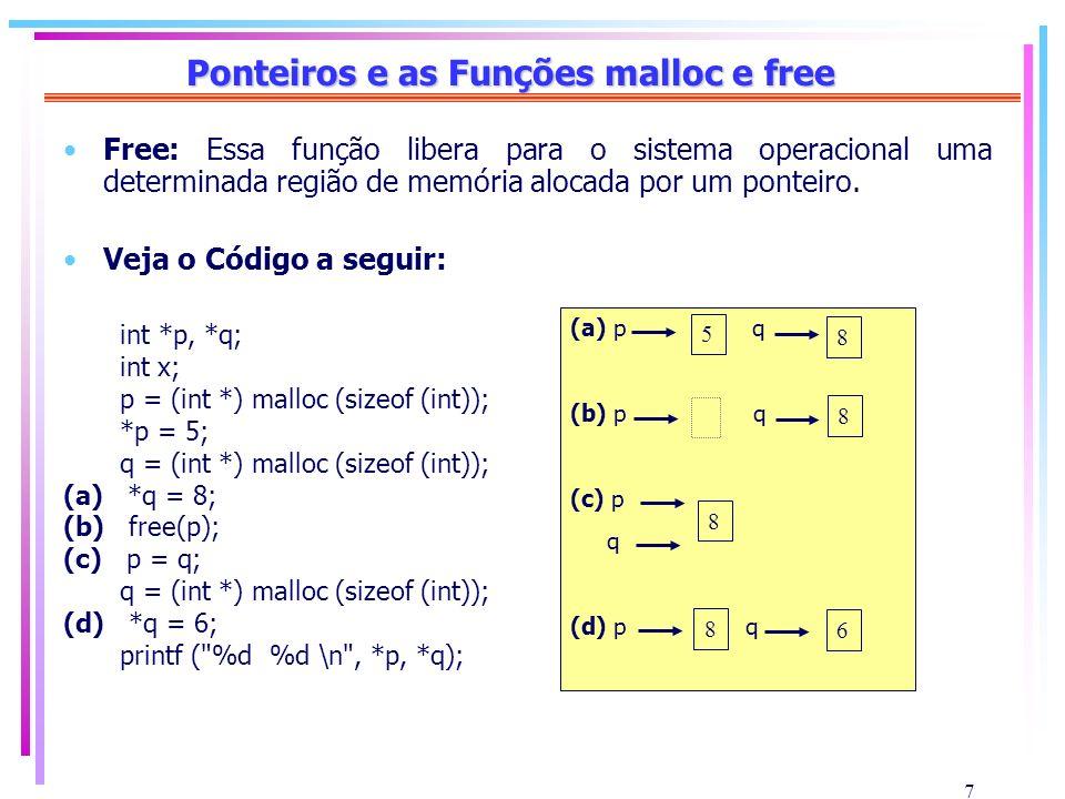 7 Ponteiros e as Funções malloc e free Free: Essa função libera para o sistema operacional uma determinada região de memória alocada por um ponteiro.