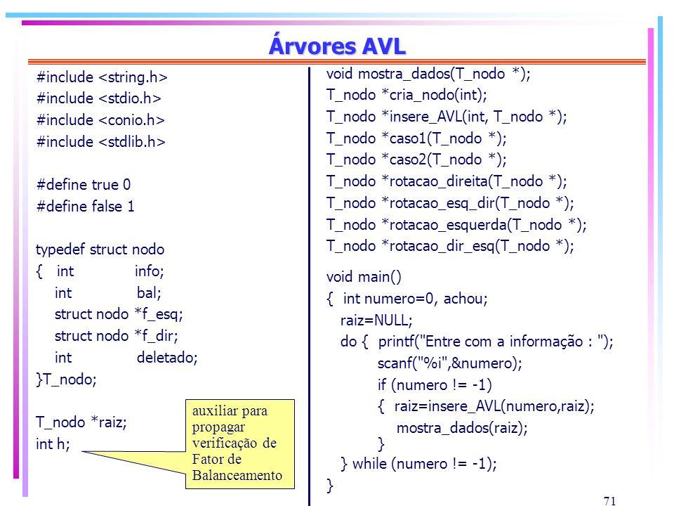 71 Árvores AVL #include #define true 0 #define false 1 typedef struct nodo { int info; int bal; struct nodo *f_esq; struct nodo *f_dir; int deletado;