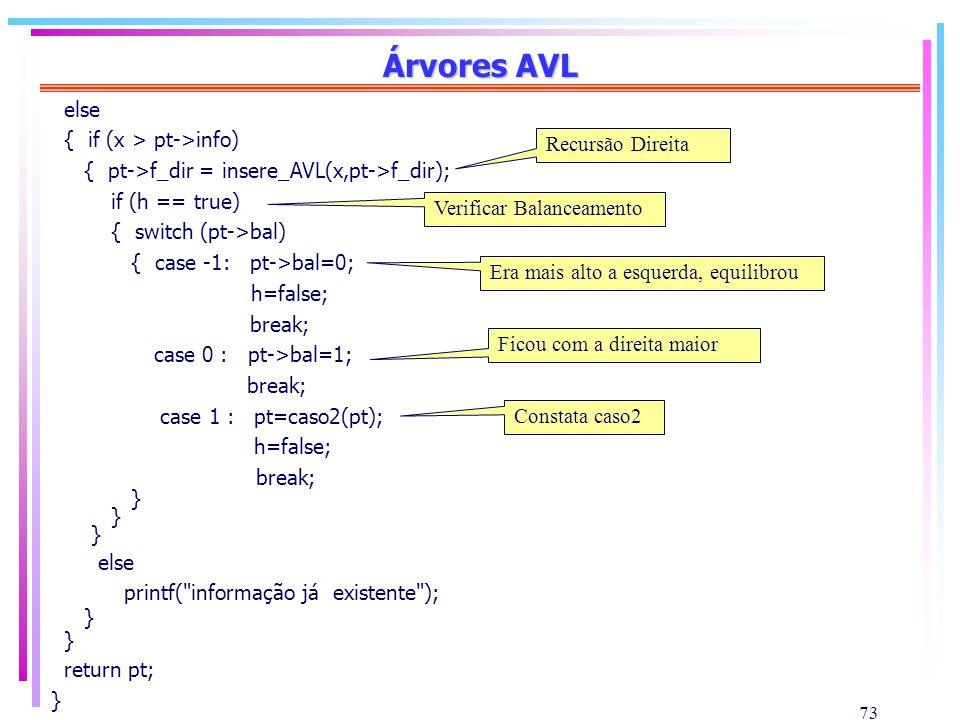 73 Árvores AVL else { if (x > pt->info) { pt->f_dir = insere_AVL(x,pt->f_dir); if (h == true) { switch (pt->bal) { case -1: pt->bal=0; h=false; break;