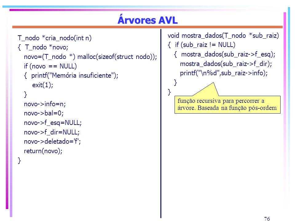 76 Árvores AVL void mostra_dados(T_nodo *sub_raiz) { if (sub_raiz != NULL) { mostra_dados(sub_raiz->f_esq); mostra_dados(sub_raiz->f_dir); printf(