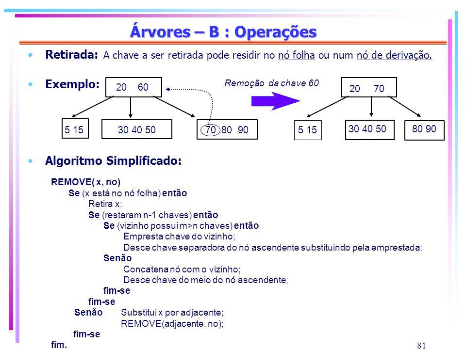 81 Árvores – B : Operações Retirada: A chave a ser retirada pode residir no nó folha ou num nó de derivação. Exemplo: Algoritmo Simplificado: REMOVE(