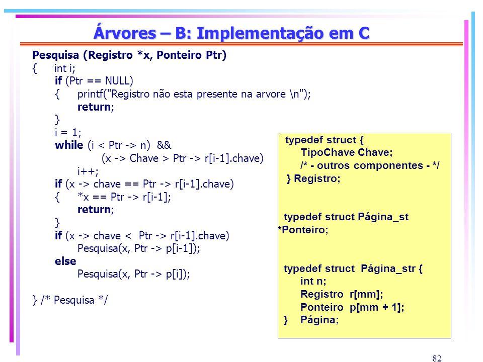 82 Árvores – B: Implementação em C Pesquisa (Registro *x, Ponteiro Ptr) { int i; if (Ptr == NULL) {printf(
