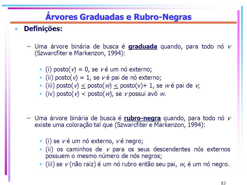 83 Árvores Graduadas e Rubro-Negras Definições: –Uma árvore binária de busca é graduada quando, para todo nó v (Szwarcfiter e Markenzon, 1994): (i) po