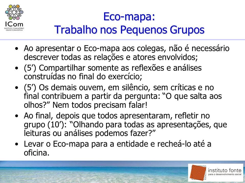 Eco-mapa: Trabalho nos Pequenos Grupos Ao apresentar o Eco-mapa aos colegas, não é necessário descrever todas as relações e atores envolvidos; (5) Com