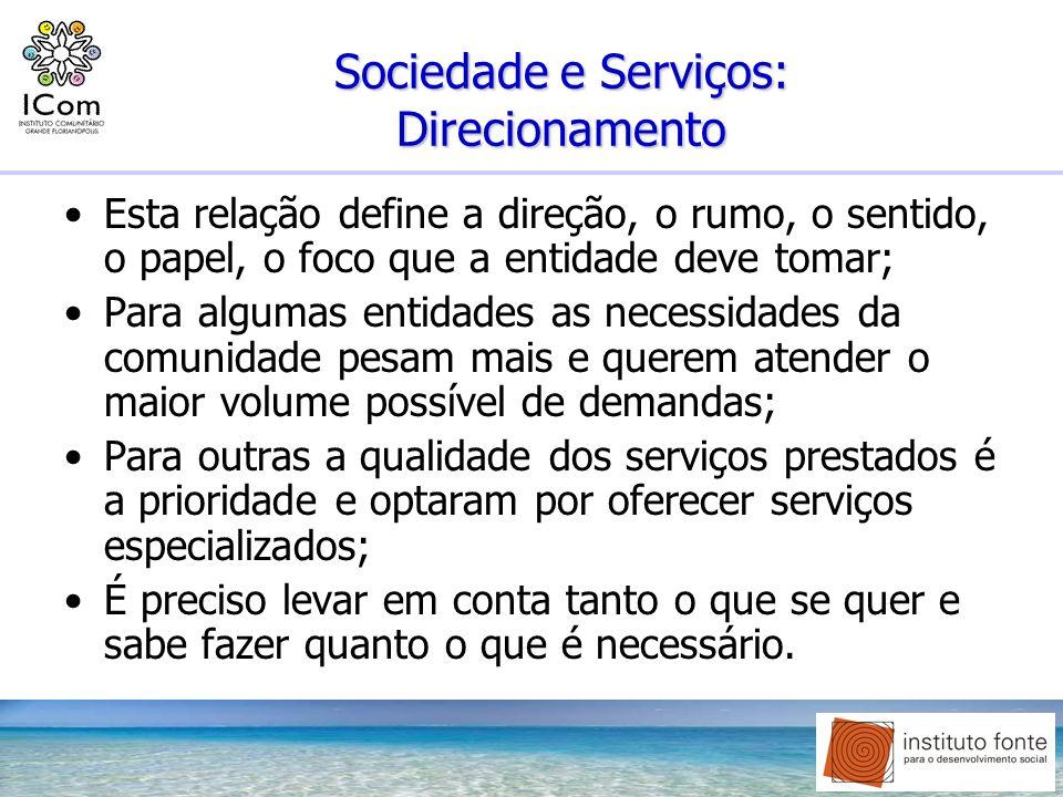 Sociedade e Serviços: Direcionamento Esta relação define a direção, o rumo, o sentido, o papel, o foco que a entidade deve tomar; Para algumas entidad