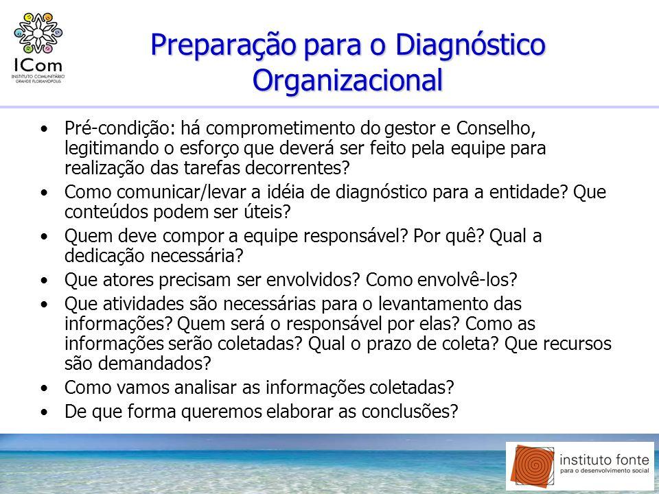 Preparação para o Diagnóstico Organizacional Pré-condição: há comprometimento do gestor e Conselho, legitimando o esforço que deverá ser feito pela eq