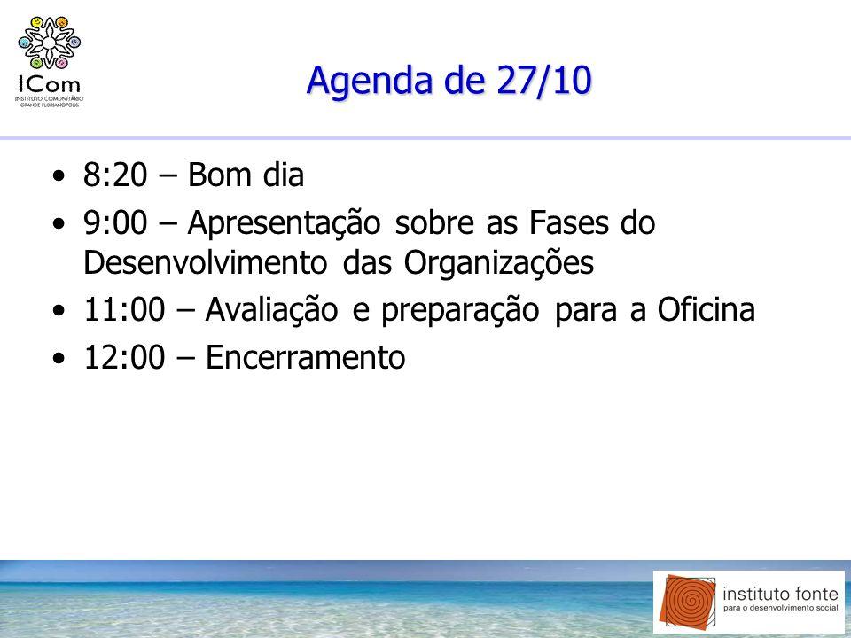Agenda de 27/10 8:20 – Bom dia 9:00 – Apresentação sobre as Fases do Desenvolvimento das Organizações 11:00 – Avaliação e preparação para a Oficina 12