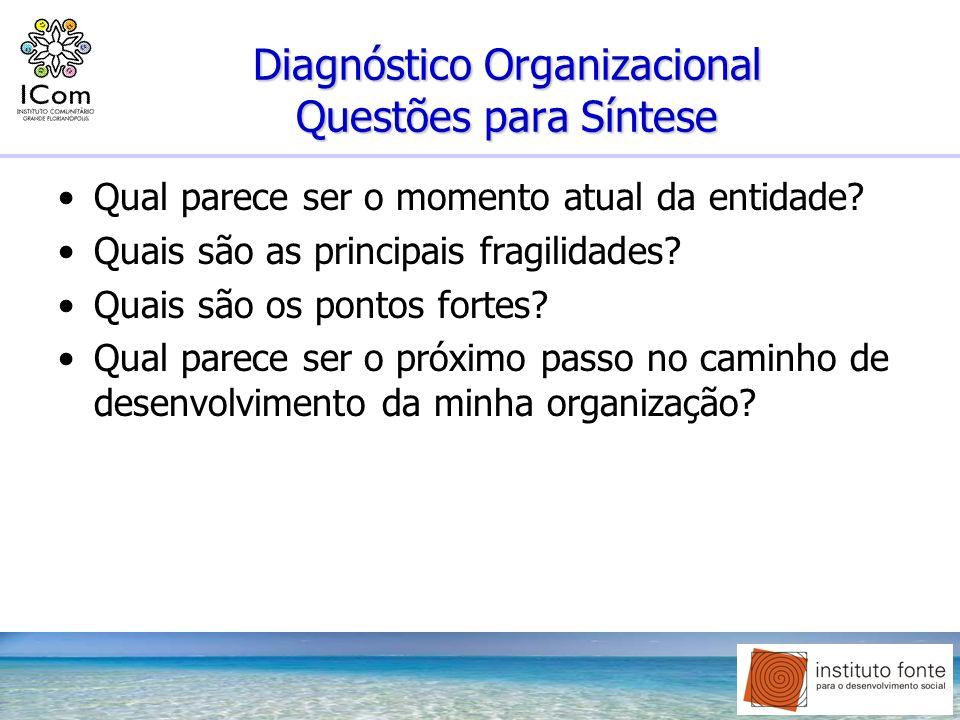 Diagnóstico Organizacional Questões para Síntese Qual parece ser o momento atual da entidade? Quais são as principais fragilidades? Quais são os ponto