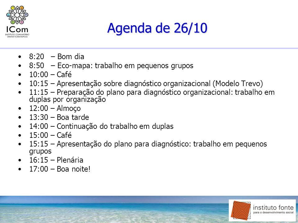 Agenda de 26/10 8:20 – Bom dia 8:50 – Eco-mapa: trabalho em pequenos grupos 10:00 – Café 10:15 – Apresentação sobre diagnóstico organizacional (Modelo