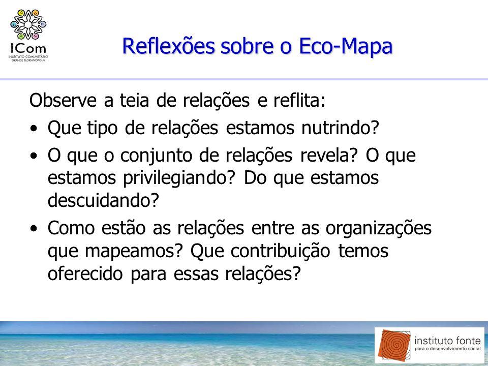 Reflexões sobre o Eco-Mapa Observe a teia de relações e reflita: Que tipo de relações estamos nutrindo? O que o conjunto de relações revela? O que est