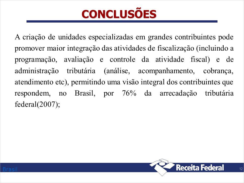 Brasil 12 CONCLUSÕES A criação de unidades especializadas em grandes contribuintes pode promover maior integração das atividades de fiscalização (incl