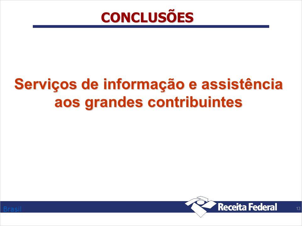 Brasil 13 CONCLUSÕES Serviços de informação e assistência aos grandes contribuintes