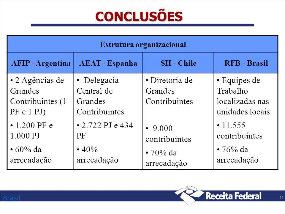 Brasil 14 CONCLUSÕES Estrutura organizacional AFIP - ArgentinaAEAT - EspanhaSII - ChileRFB - Brasil 2 Agências de Grandes Contribuintes (1 PF e 1 PJ)