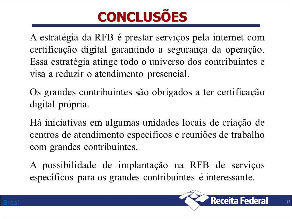 Brasil 17 CONCLUSÕES A estratégia da RFB é prestar serviços pela internet com certificação digital garantindo a segurança da operação. Essa estratégia