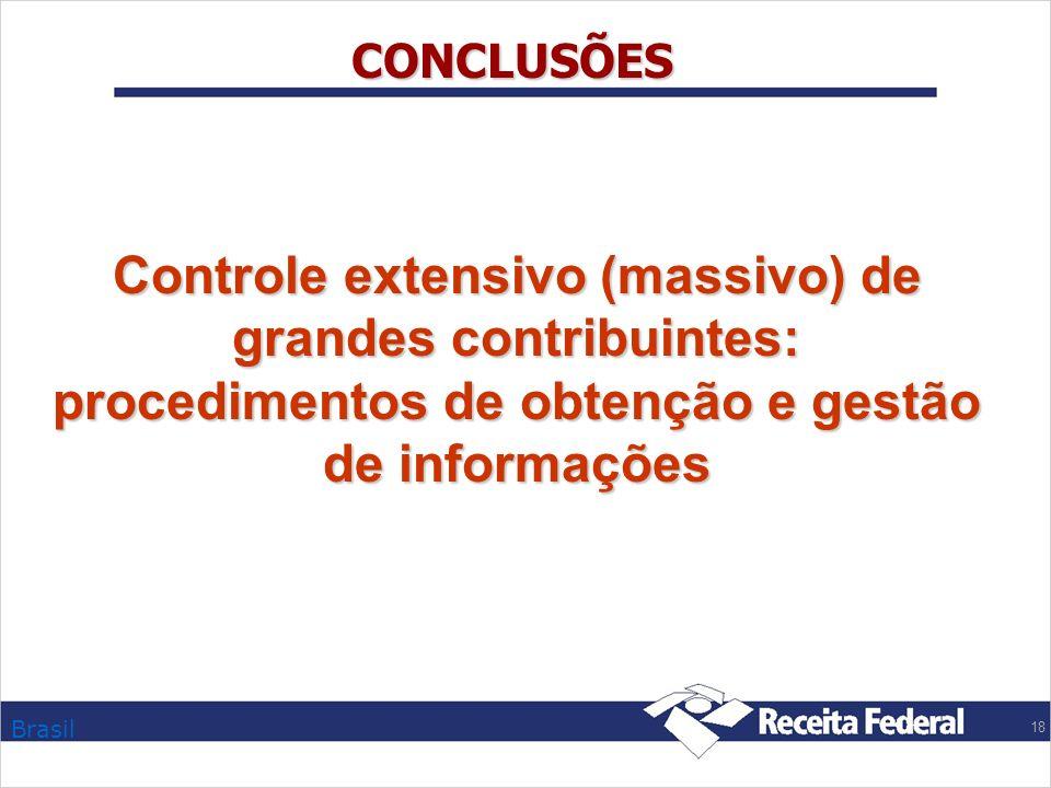 Brasil 18 CONCLUSÕES Controle extensivo (massivo) de grandes contribuintes: procedimentos de obtenção e gestão de informações