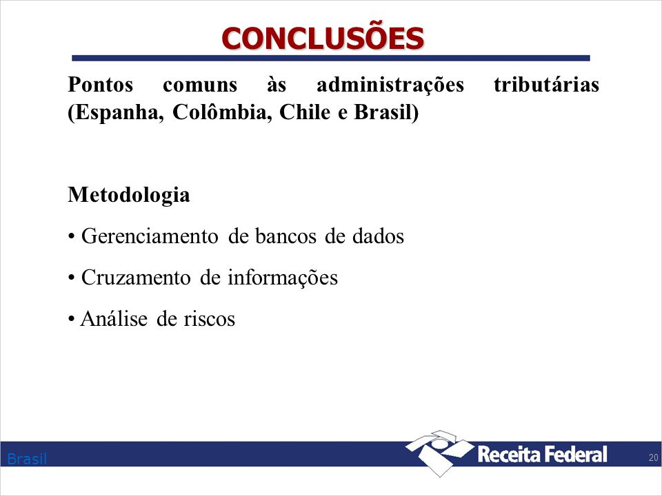 Brasil 20 CONCLUSÕES Pontos comuns às administrações tributárias (Espanha, Colômbia, Chile e Brasil) Metodologia Gerenciamento de bancos de dados Cruz