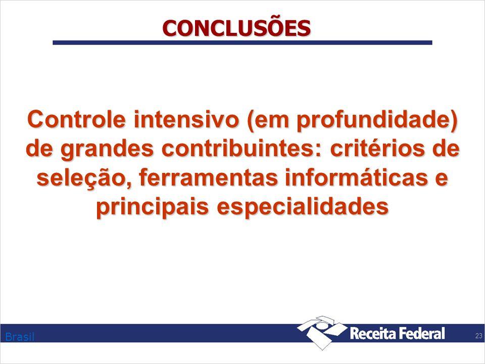 Brasil 23 CONCLUSÕES Controle intensivo (em profundidade) de grandes contribuintes: critérios de seleção, ferramentas informáticas e principais especi