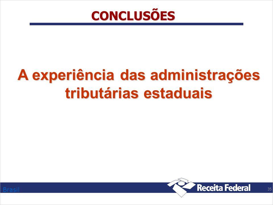 Brasil 35 CONCLUSÕES A experiência das administrações tributárias estaduais