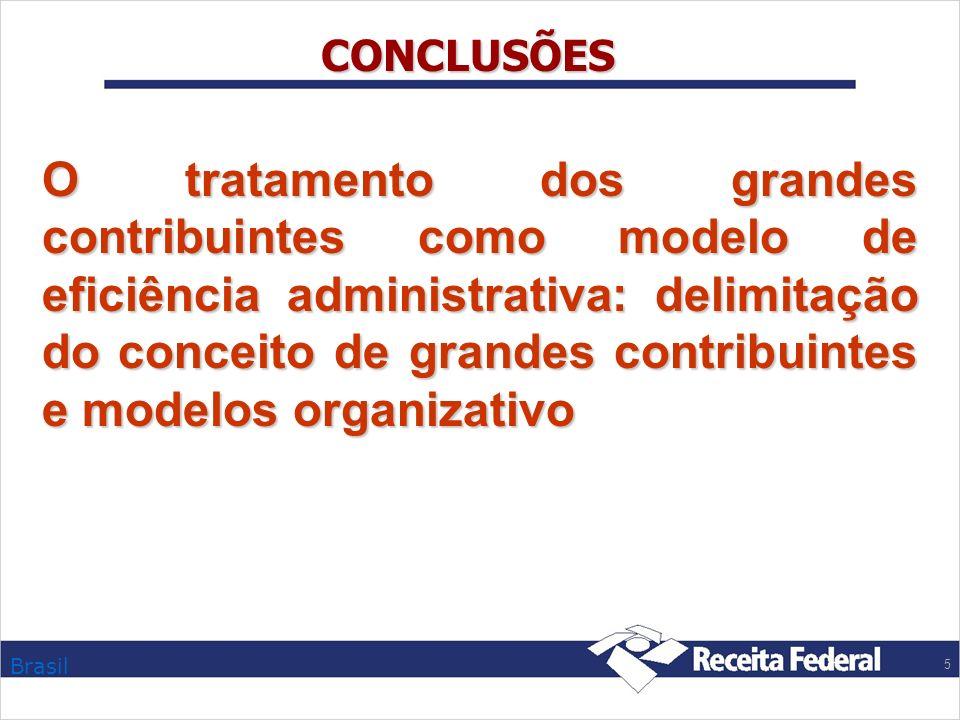 Brasil 5 CONCLUSÕES O tratamento dos grandes contribuintes como modelo de eficiência administrativa: delimitação do conceito de grandes contribuintes