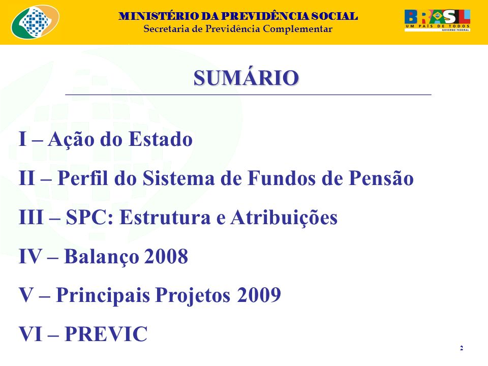 MINISTÉRIO DA PREVIDÊNCIA SOCIAL Secretaria de Previdência Complementar SUMÁRIO I – Ação do Estado II – Perfil do Sistema de Fundos de Pensão III – SP