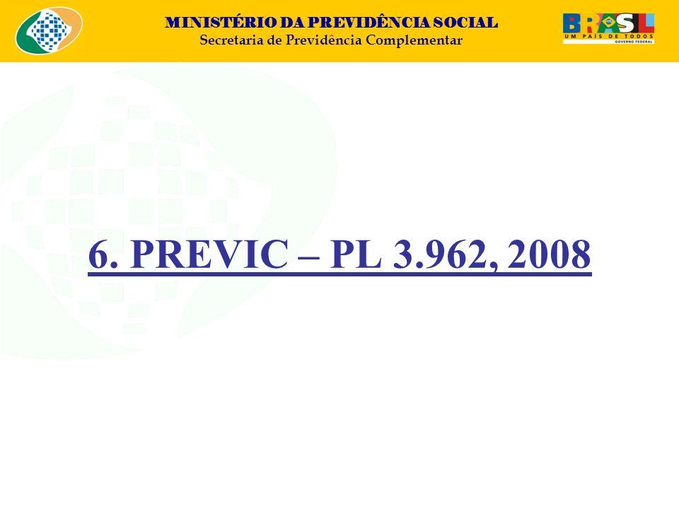 MINISTÉRIO DA PREVIDÊNCIA SOCIAL Secretaria de Previdência Complementar 6. PREVIC – PL 3.962, 2008
