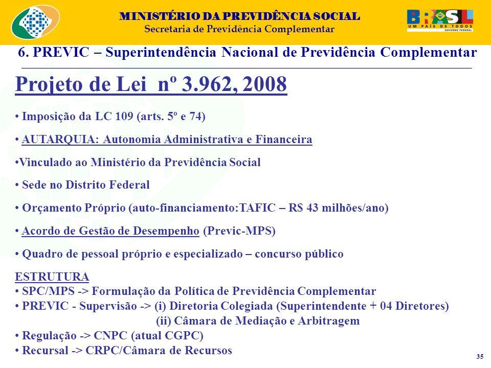 MINISTÉRIO DA PREVIDÊNCIA SOCIAL Secretaria de Previdência Complementar Projeto de Lei nº 3.962, 2008 Imposição da LC 109 (arts. 5º e 74) AUTARQUIA: A