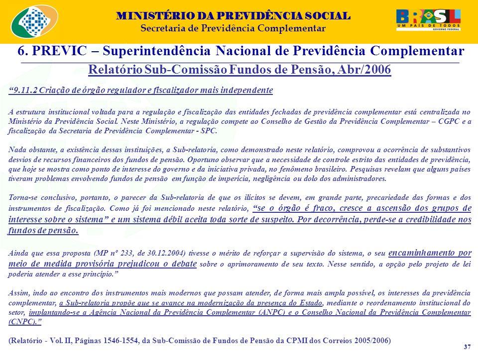 MINISTÉRIO DA PREVIDÊNCIA SOCIAL Secretaria de Previdência Complementar Relatório Sub-Comissão Fundos de Pensão, Abr/2006 9.11.2 Criação de órgão regu
