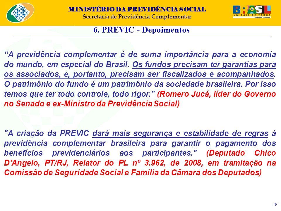 MINISTÉRIO DA PREVIDÊNCIA SOCIAL Secretaria de Previdência Complementar 6. PREVIC - Depoimentos 40 A previdência complementar é de suma importância pa
