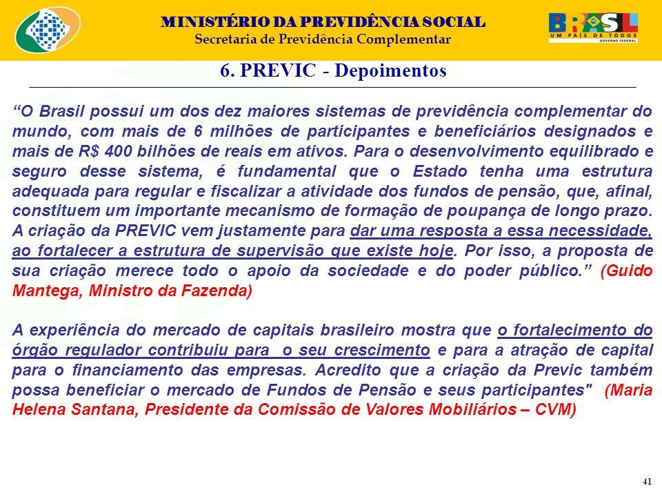 MINISTÉRIO DA PREVIDÊNCIA SOCIAL Secretaria de Previdência Complementar 6. PREVIC - Depoimentos 41 O Brasil possui um dos dez maiores sistemas de prev