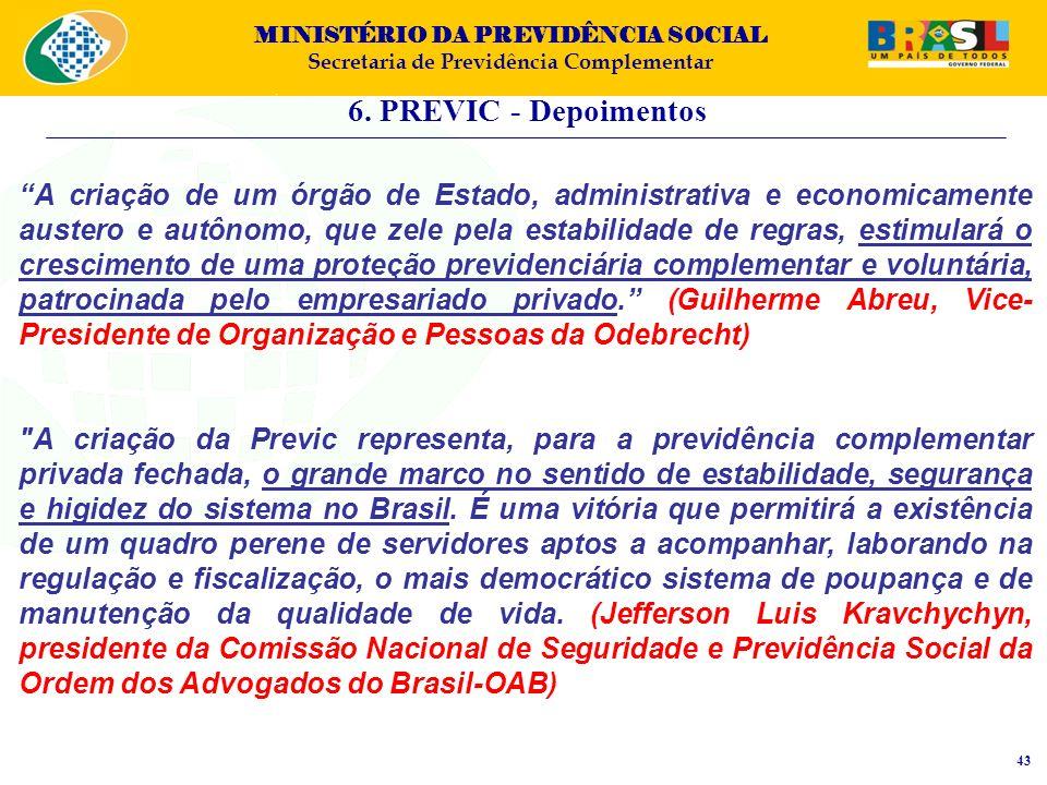 MINISTÉRIO DA PREVIDÊNCIA SOCIAL Secretaria de Previdência Complementar 6. PREVIC - Depoimentos 43 A criação de um órgão de Estado, administrativa e e