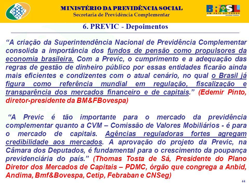 MINISTÉRIO DA PREVIDÊNCIA SOCIAL Secretaria de Previdência Complementar 6. PREVIC - Depoimentos 44 A criação da Superintendência Nacional de Previdênc
