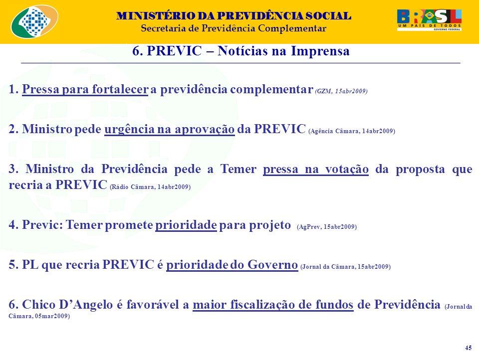 MINISTÉRIO DA PREVIDÊNCIA SOCIAL Secretaria de Previdência Complementar 6. PREVIC – Notícias na Imprensa 45 1. Pressa para fortalecer a previdência co