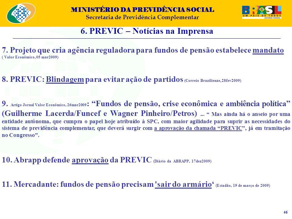 MINISTÉRIO DA PREVIDÊNCIA SOCIAL Secretaria de Previdência Complementar 6. PREVIC – Notícias na Imprensa 46 7. Projeto que cria agência reguladora par