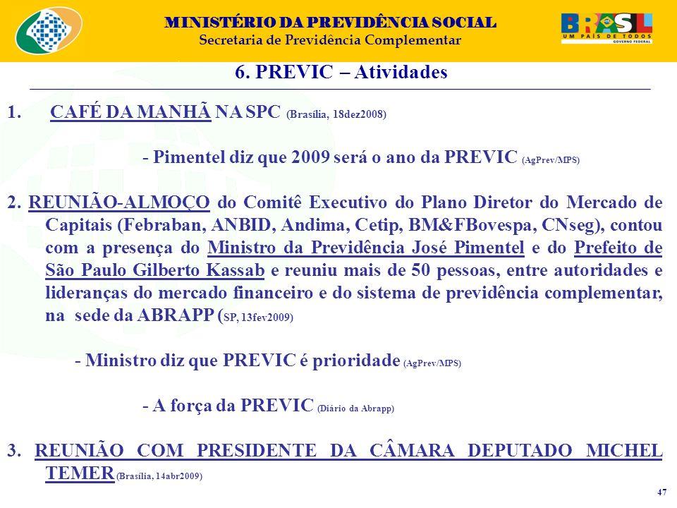 MINISTÉRIO DA PREVIDÊNCIA SOCIAL Secretaria de Previdência Complementar 6. PREVIC – Atividades 47 1. CAFÉ DA MANHÃ NA SPC (Brasília, 18dez2008) - Pime