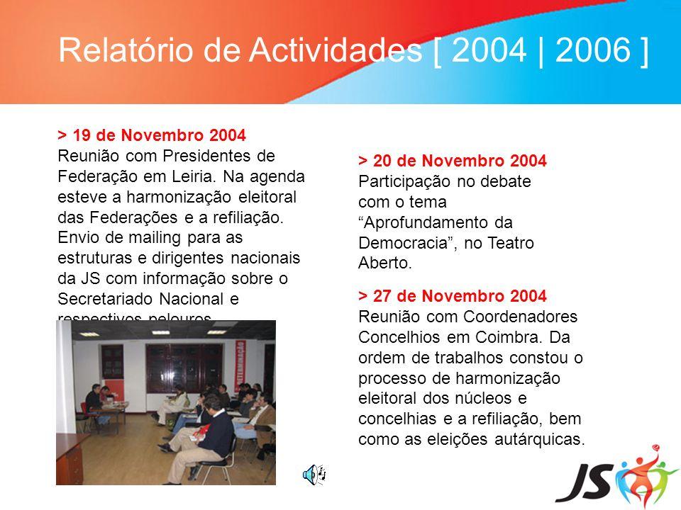 Relatório de Actividades [ 2004 | 2006 ] > 19 de Novembro 2004 Reunião com Presidentes de Federação em Leiria. Na agenda esteve a harmonização eleitor