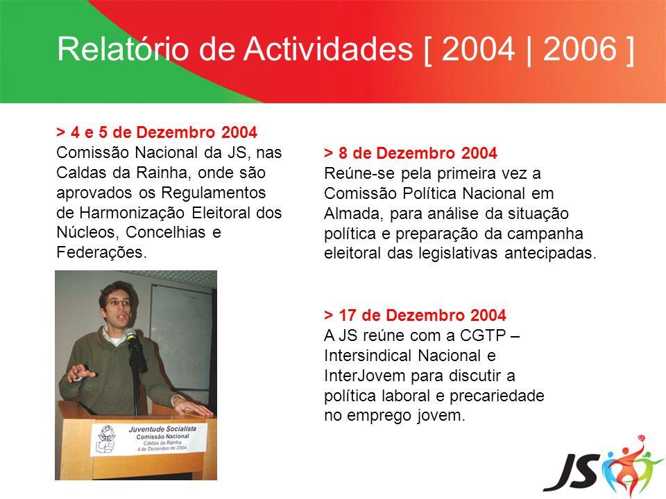 Relatório de Actividades [ 2004   2006 ] > 4 e 5 de Dezembro 2004 Comissão Nacional da JS, nas Caldas da Rainha, onde são aprovados os Regulamentos de