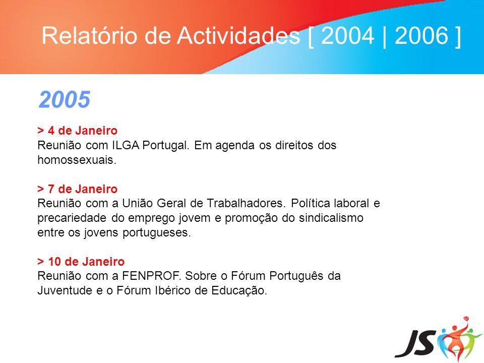 Relatório de Actividades [ 2004 | 2006 ] 2005 > 4 de Janeiro Reunião com ILGA Portugal. Em agenda os direitos dos homossexuais. > 7 de Janeiro Reunião